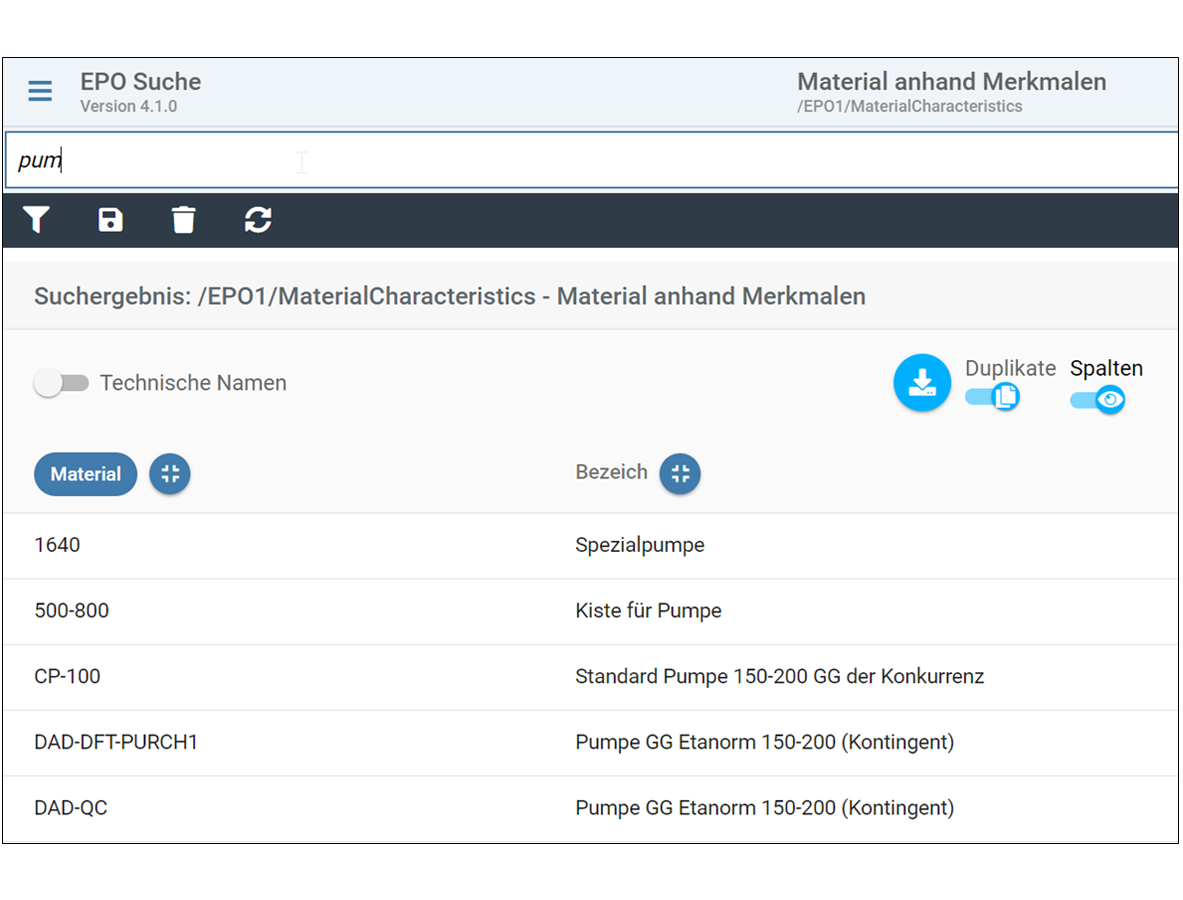 SAP Suche mit Langtext