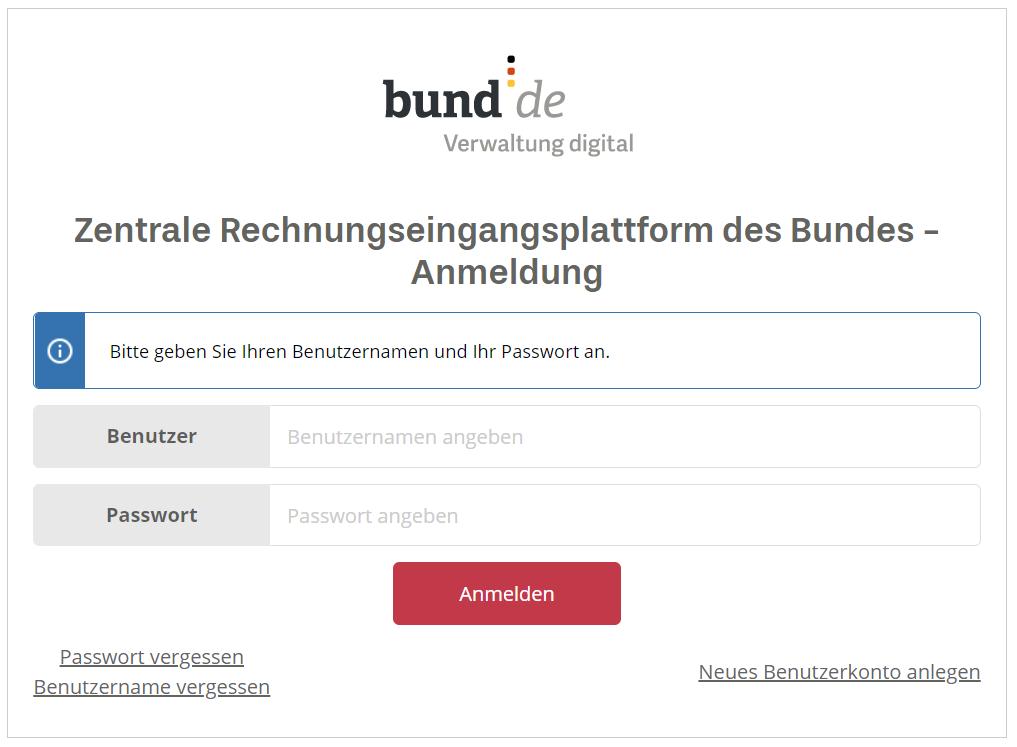 Unternehmen können sich unter xrechnung.bund.de für die ZRE-Plattform des Bundes registrieren.