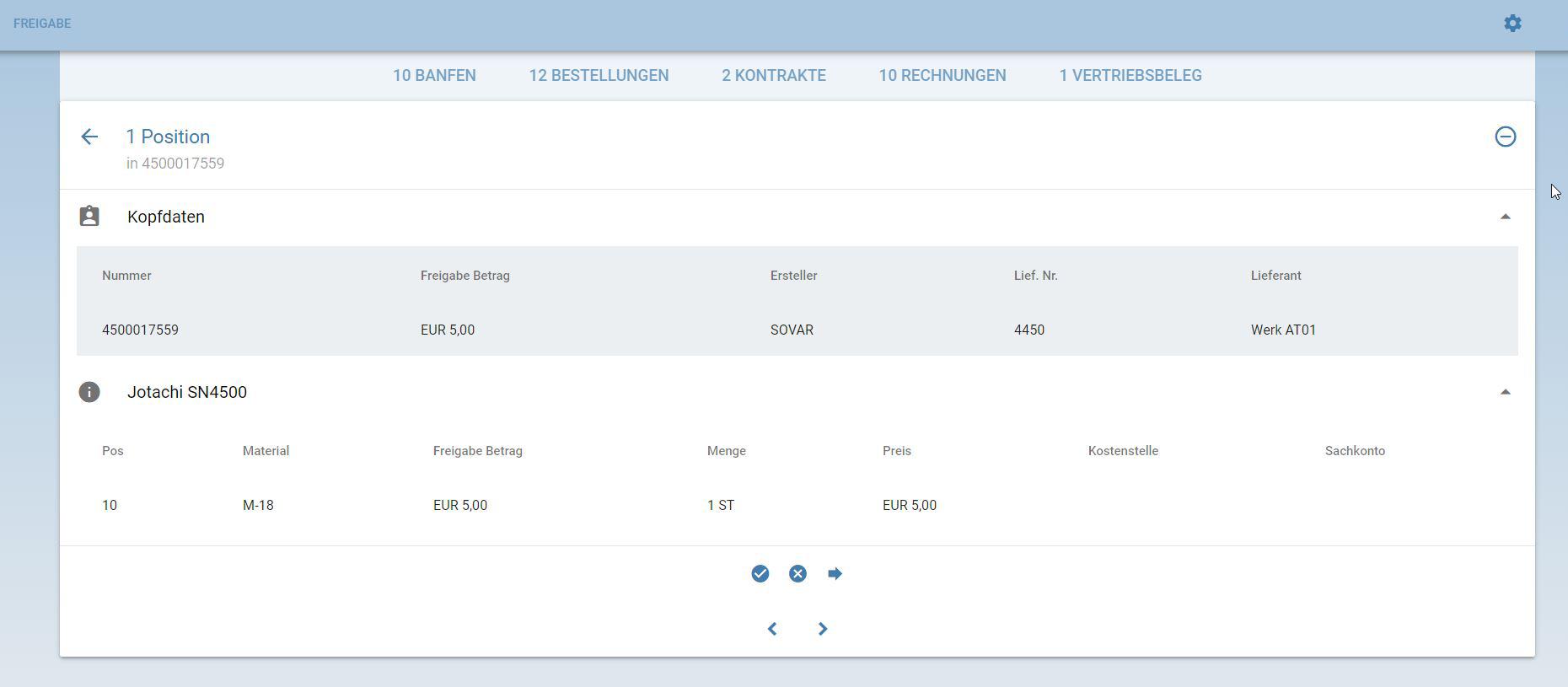 EPO Freigabe App HTML5 Fiori SAP MM Bestellung Workflow 2