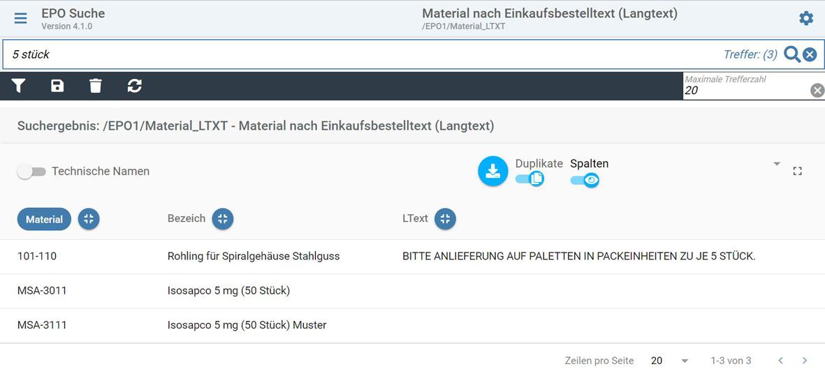 SAP Suche im Langtext