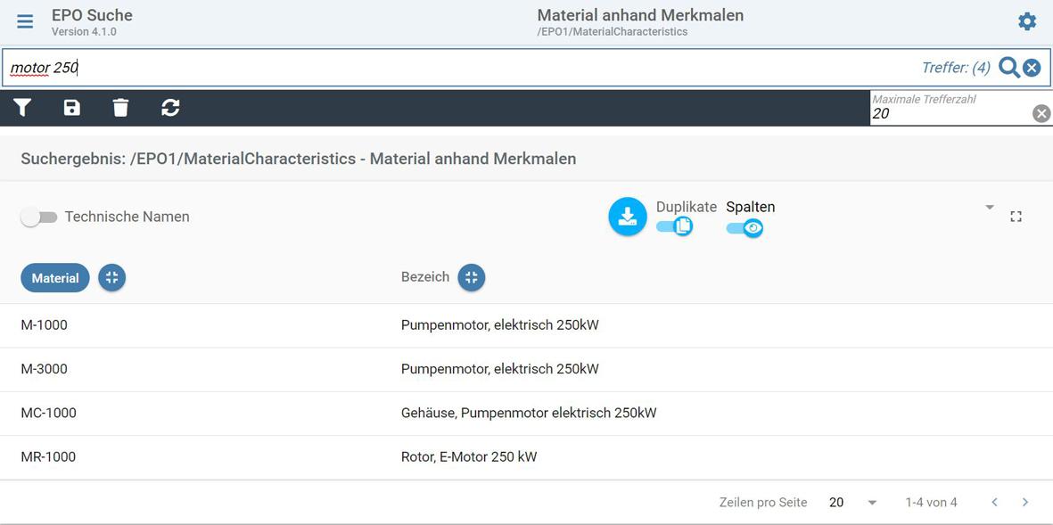 SAP Suche nach Material mit Merkmal