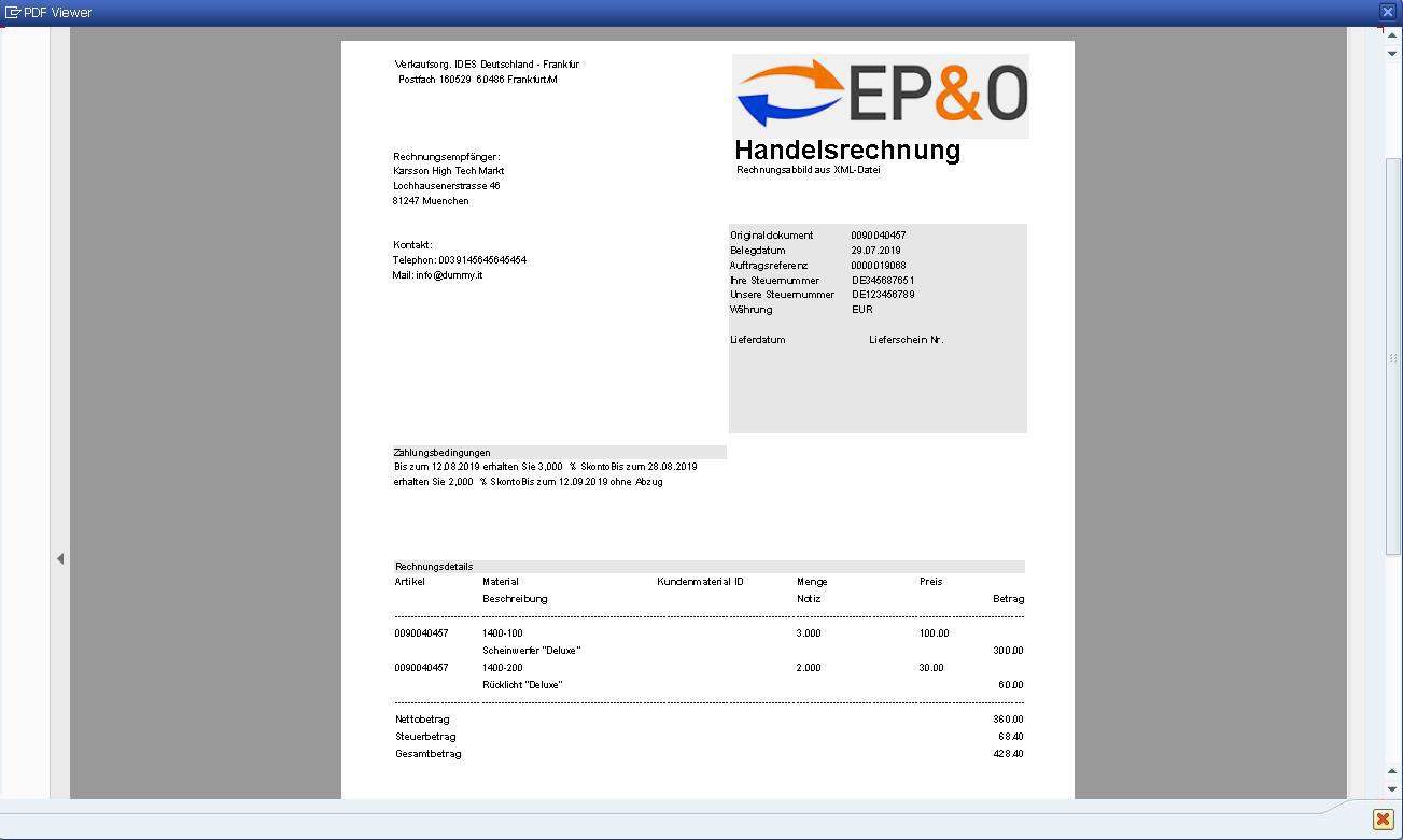 Ausgehende XRechnungen werden im SAP wahlweise in ein PDF oder in eine HTML-Seite umgewandelt (Viewer).