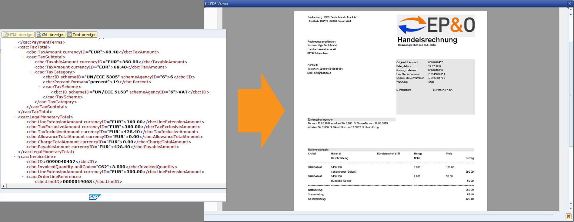 xrechnung_e-rechnung epo pdf visualisierung